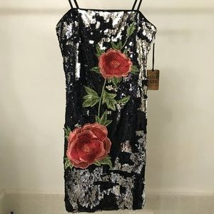 Sequin mini dress with embroidered flowers